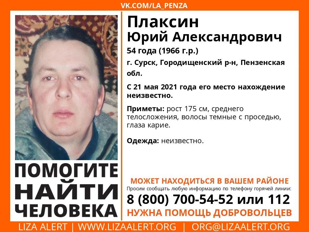 В Городищенском районе разыскивают 54-летнего Юрия Плаксина